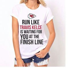Also available in a tank top womens fitted size S is pictured on the model Request your size during checkout small medium large new without tags Kansas City Chiefs Shirts, Kansas City Royals, T Shirt And Jeans, Tee Shirts, Tees, Nfl Football Teams, Football Season, Kc Cheifs, Travis Kelce