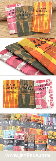 The Field Notes Two Rivers Edition was printed using various colored covers and a random assortment of traditional hand-set type, so no two memo books are alike!