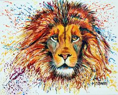 Watercolor Painting Of A Lion Painting - Ariel by Maria Barry