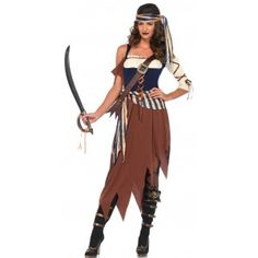 Caribbean Castaway Pirate Womens Costume text_price $40.00  This Caribbean Castaway Pirate costume has a ragged hem skirt that falls from knees to mid-calf with a peasant top crop sleeves with lace up ribbon detail attached sash with matching head wrap and cross body buckled strap.  Other items shown sold separately.  #cosplay #costumes #halloween