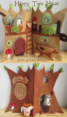 Sew an adorable woodland animal treehouse quiet book with this fun and easy PDF sewing pattern from little dear! Felt Crafts Diy, Felt Diy, Fabric Crafts, Sewing Crafts, Fall Crafts, Quiet Book Patterns, Felt Patterns, Craft Patterns, Sewing Patterns