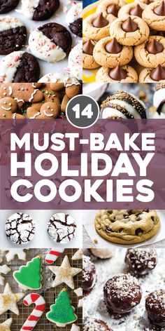 14 must-bake holiday recipes cookies # . - 14 must-bake holiday recipes bake # …, bake - Holiday Cookie Recipes, Holiday Desserts, Holiday Treats, Holiday Gifts, Holiday Decor, Best Holiday Cookies, Thanksgiving Desserts, Easy To Make Christmas Cookies, Healthy Christmas Treats