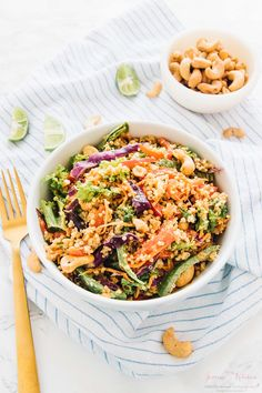 This Cashew Thai Quinoa Salad is a colourful, crunchy vegan meal perfect for a light lunch or dinner! It's dressed with a divine peanut ginger sauce!!