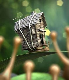 mobile home snail fairy house Fairy Land, Fairy Tales, Modelos 3d, Fairy Houses, Little Houses, Faeries, Zbrush, Concept Art, Steampunk