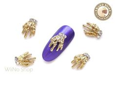 Gold Skeleton Hand Nail Metal Charm Nail Art - 2 pcs