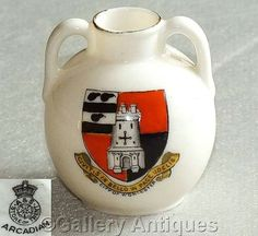 Edwardian Art Nouveau Antique Arcadian China Crested Ware portland style Vase / Ewer with Crest of City of Worcester c1900's (ref: 5002)