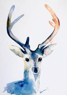 Blue reindeer original watercolor painting. Christmas present