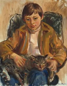 Nora Heysen (Australian, 1911-2003) - A Boy with his cat