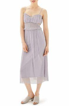Topshop Side Cutout Tulle Midi Dress (Regular & Petite)