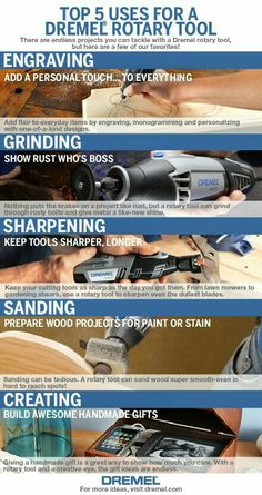 TOP 5 USES FOR A DREMEL --- We're often asked what our favorite uses are for a rotary tool. There are so many to list, we'll start with a few! Dremel Bits, Dremel Werkzeugprojekte, Dremel Carving, Dremel Rotary Tool, Wood Carving, Dremel 3000, Cheap Power Tools, Cool Tools, Cheap Tools