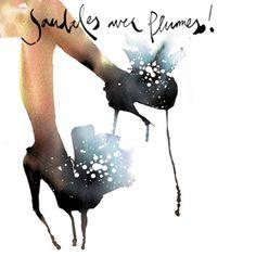 Sandales avec Plumes! fashion illustration - Stina Persson