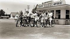 vintage melvins drive in girls on bikes 1940s
