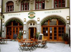 pub in German, Augustinerkeller  For the greenery over Windows and doors
