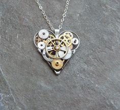 Clockwork Love heart pendant . . . . ღTrish W ~ http://www.pinterest.com/trishw/ . . . . #handmade #jewelry