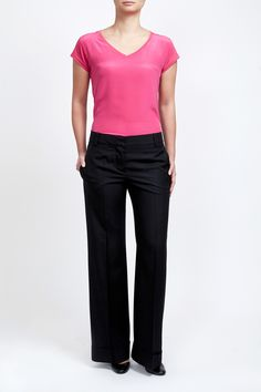 Fuchsia Silk and cotton modal blend T-shirt