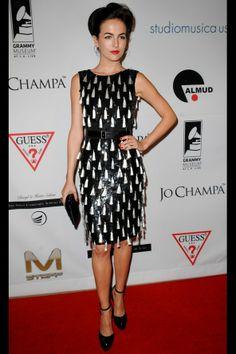 Camilla Belle wears tassled Oscar de la Renta dress