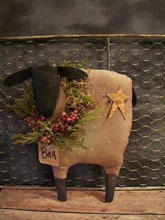 ★ Primitive Holiday Sparkle Sheep ★ floral berries doll w/ star 8 x 7 in.