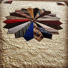 Fun way to use old neck ties for a quilt. Maybe as a memory quilt. Longarm Quilting, Free Motion Quilting, Machine Quilting, Quilting Projects, Quilting Designs, Sewing Projects, Quilting Ideas, Quilt Design, Quilting Room