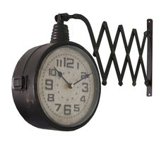 Features: Double faced clock Product Type: Analog Silent/ Non-Ticking: No Colour: Black Shape: Novelty Frame Material: Metal Frame Material Details: Hanging Clock, Led Wall Clock, Wall Clocks, London Clock, Wall Clock Online, Industrial, Iron Wall, Home Living, Decoration