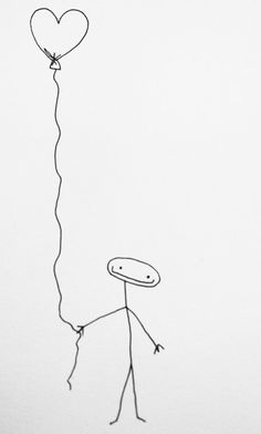 Just a simple stick figure (no face) holding a <3 shaped balloon. Tattoo idea?