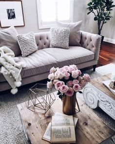 #Livingroom #Couch #Grey #Wood #Pillows #Flowers #PinkAccent #Chic - Architecture and Home Decor - Bedroom - Bathroom - Kitchen And Living Room Interior Design Decorating Ideas - #architecture #design #interiordesign #homedesign #architect #architectural #homedecor #realestate #contemporaryart #inspiration #creative #decor #decoration