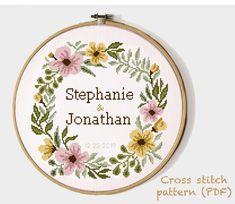 Wedding Cross Stitch Patterns, Modern Cross Stitch Patterns, Cross Stitching, Cross Stitch Embroidery, Alphabet And Numbers, Wedding Gifts, Pattern Design, Print Patterns, Floral Wreath
