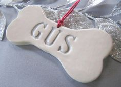 Personalized Dog Christmas Ornament with Name - Gift Boxed and Ready to Give $19.95. This fun ornament would make a great gift for your favorite pet! #dogbone #christmasornament #petgift