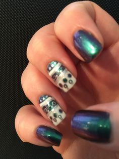 FUN Lacquer Blessing, details painted with ORLY Pointe Blanche and Shine.