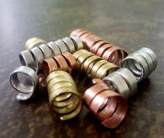 Dread Beads set of 10 Mixed Metal Spirals by HeatherfishCreations