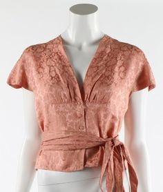 Balenciaga couture pale pink damask blouse, 1944, white Eisa label, with button-fastened midriff, matching shaped cummerbund sash| Kerry Taylor Auctions