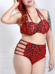afa21553e90 Plus Size Leopard Cutout Strappy Halter Bikini Swimsuit