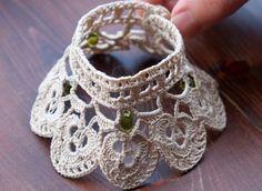 crochet bracelet, ecru bracelet, romantic bracelet, victorian style, textile jewelry, bridesmaids, lace bracelet, cotton cuff bracelet by HanciCrochets on Etsy https://www.etsy.com/listing/172233824/crochet-bracelet-ecru-bracelet-romantic