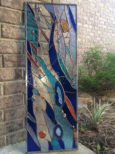 Modern Stained Glass, Faux Stained Glass, Stained Glass Designs, Stained Glass Panels, Stained Glass Projects, Fused Glass Art, Glass Wall Art, Stained Glass Patterns, L'art Du Vitrail