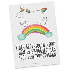 """Postkarte Einhorn Regenbogen aus Karton 300 Gramm  weiß - Das Original von Mr. & Mrs. Panda.  Diese wunderschöne Postkarte aus edlem und hochwertigem 300 Gramm Papier wurde matt glänzend bedruckt und wirkt dadurch sehr edel. Natürlich ist sie auch als Geschenkkarte oder Einladungskarte problemlos zu verwenden. Jede unserer Postkarten wird von uns per hand entworfen, gefertigt, verpackt und verschickt.    Über unser Motiv Einhorn Regenbogen  Ganz nach dem Motto """"Einen Regenbogen nennt man in…"""