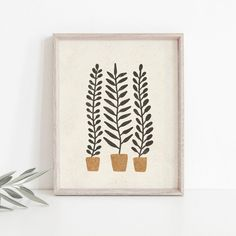 Hippie Home Decor Potted Ferns Wall Art Print Plant Wall Art Plant Art Diy Wall Art, Wall Art Decor, Wall Art Prints, Simple Wall Art, Wall Art Boho, Simple Canvas Art, Wall Art Posters, Simple Wall Paintings, Diy Artwork