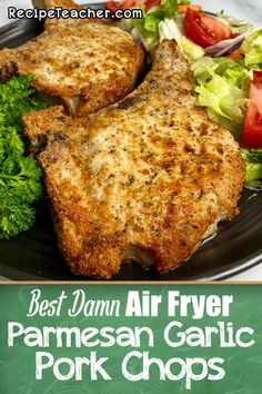 Air fryer pork chops seasoned with a simple mix of Parmesan cheese garlic and seasonings and cooked to juicy perfection. Air Fryer Recipes Keto, Air Frier Recipes, Air Fryer Dinner Recipes, Cooking Recipes, Vegan Recipes, Italian Pork Chops, Smoked Pork Chops, Parmesan Pork Chops, Smoked Beef