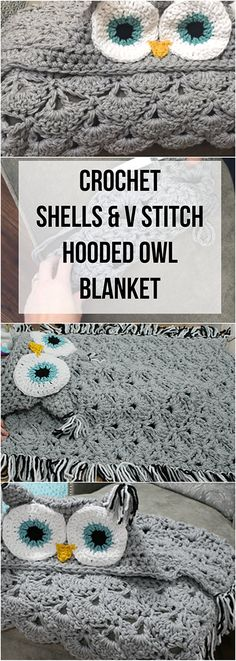 Häkeln Sie Muscheln & V Stitch Hooded Owl Blanket Tutorial + Video - Knitting and Crochet Crochet Owl Blanket Pattern, Easy Crochet Blanket, Crochet Owls, Owl Patterns, Crochet Stitches Patterns, Crochet Baby, Free Crochet, Knitting Patterns, Knitted Owl
