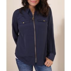 Michael Kors blouse Navy blue. Zips up from the front. Can be worn as a long sleeve or roll up the sleeves to a half sleeve. Rustic gold hardware. MICHAEL Michael Kors Tops Blouses