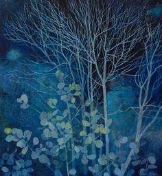 'A Night of Frost' by Victoria Crowe (oil on linen) London Art Fair, Victoria, National Portrait Gallery, Plant Illustration, Panel Art, Photomontage, Tree Art, Landscape Art, Flower Art