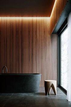 Wood Interior Walls, Spa Interior, Restaurant Interior Design, Bathroom Interior Design, Faux Plafond Led, Loft Design, House Design, Home Spa Room, Cladding Design