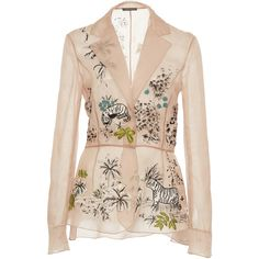 Alberta Ferretti Sheer Embroidered Blouse (232.170 RUB) ❤ liked on Polyvore featuring tops, blouses, neutral, silk blouse, transparent blouse, pink blouse, embroidered blouse and silk tops