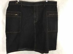 "Emergency Exit Indigo Denim Skirt Zipper Pockets Size 23 - 41"" Waist Knee Length #emergencyexit #StraightPencil"