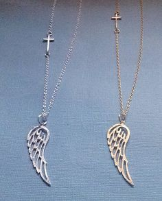 Sideways Cross and Angel Wing Necklace by JewelrybyB on Etsy