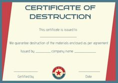 Certificate of destruction hard drive template for Hard drive destruction certificate template