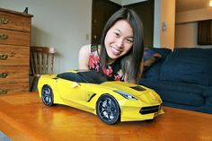#Corvette Stingray DIY papercraft model built by Tiffany Lim of United States. Congratulations Tiffany, you're the second girl I know of to build one of my papercraft cars. Get and build yours at http://visualspicer.com/store/corvette-stingray-papercraft-sports-car/