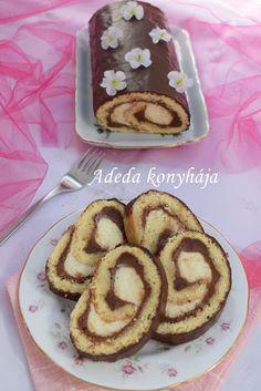 Csokoládés vaníliakrémes piskótatekercs- Ruladă cu cremă de vanilie și ciocolată Cake Cookies, Sweet Recipes, French Toast, Deserts, Food And Drink, Pie, Sweets, Breakfast, Cakes