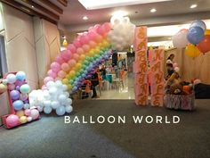 entrance styling for a rainbow and clouds theme party Air Balloon, Balloons, Party Themes, Entrance, Rainbow, Clouds, Hot, Style, Rain Bow