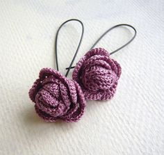Lilac Rose Crochet Earrings - Crochet Jewelry - Lavender Earrings - Crocheted…