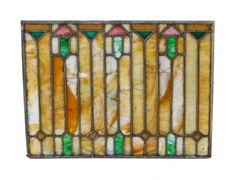 early 1920's original american prairie school style leaded art glass residential bungalow transom window with geometric design motifs - foster-munger co., chicago, il. #leadedglass #geometric #prarie #window