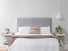 Elevate any bedroom with the Regent Bedhead - Light Grey. Fully upholstered with vertical detailing, this free-standing bedhead comes in every size from Single to King! Grey Upholstered Bed, Grey Headboard, King Size Headboard, Grey Bedding, Light Gray Bedroom, Gray Bedroom Walls, Bedroom Decor, Bedroom Ideas, Master Bedroom